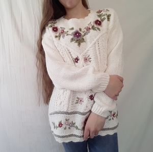 Vintage Hand knitted Embroidered  Chunky Sweater!